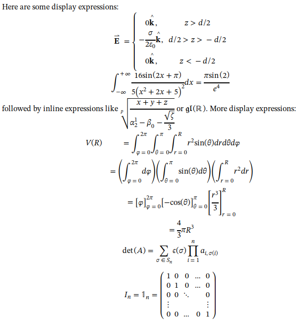 Screenshot of MathML formulas rendered by Epiphany using STIX 2