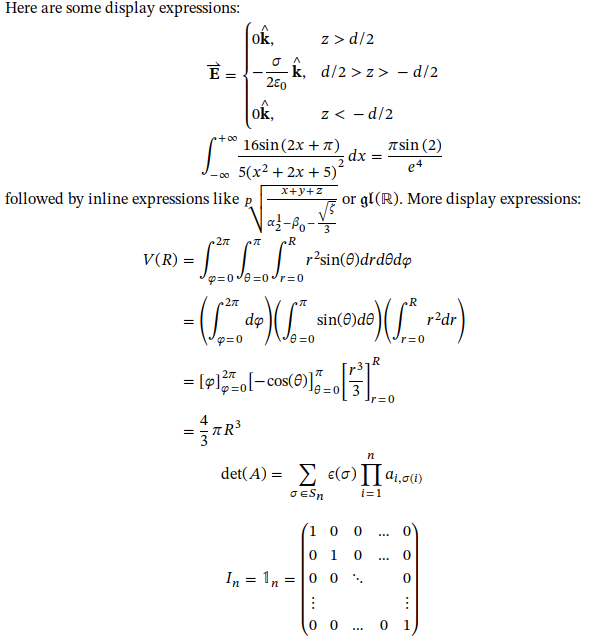 Screenshot of MathML formulas rendered by Firefox using STIX 2